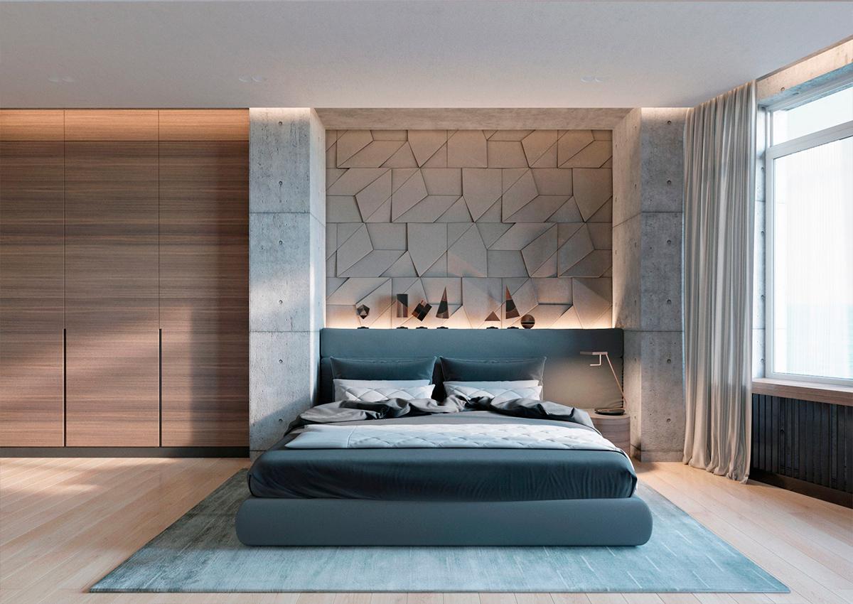 Бетонная стена в спальне: 30 стильных примеров